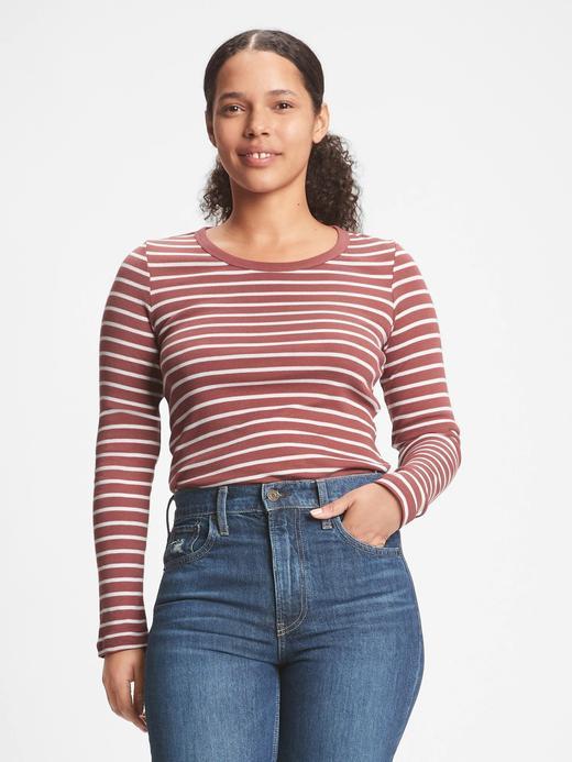 Kadın mor Çizgili Yuvarlak Yaka T-Shirt