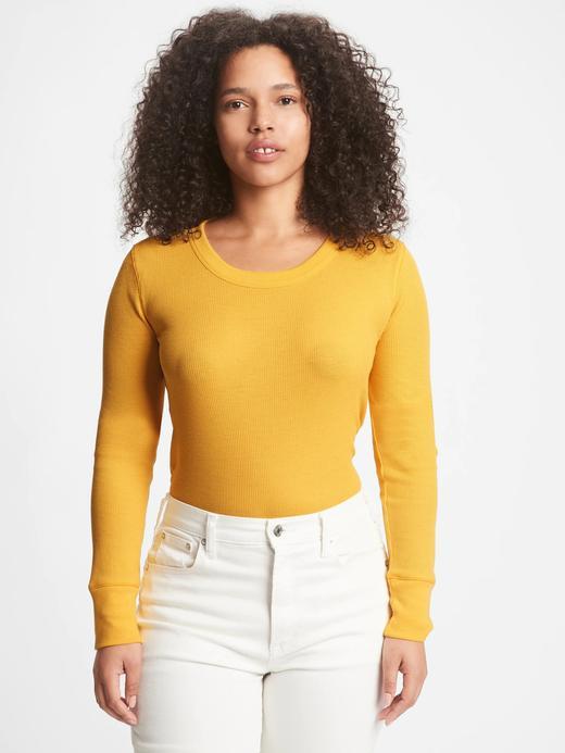 Kadın Sarı Waffle Örgü T-Shirt