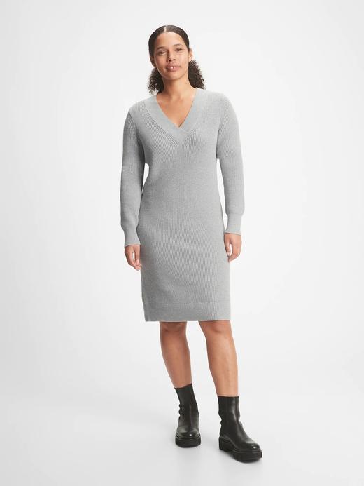 Kadın gri V Yaka Triko Elbise