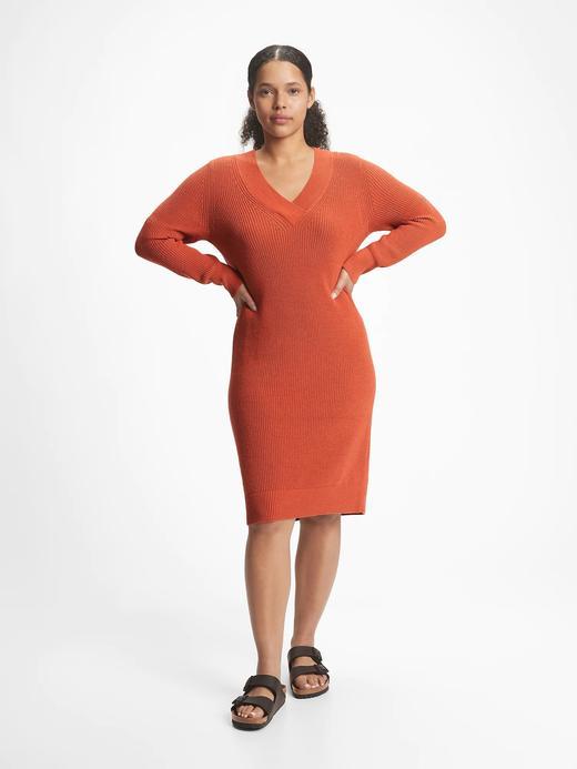 Kadın turuncu V Yaka Triko Elbise