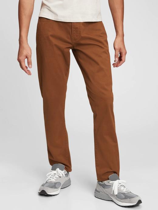 Erkek kahverengi GapFlex Straight Washwell™ Jean Pantolon