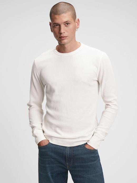 Erkek beyaz Waffle Örgü T-Shirt
