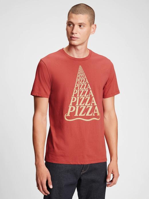 Erkek Turuncu Grafik Baskılı T-Shirt