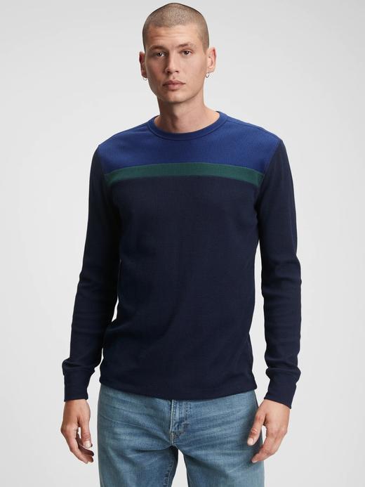 Erkek lacivert Colorblock Waffle Örgü T-Shirt