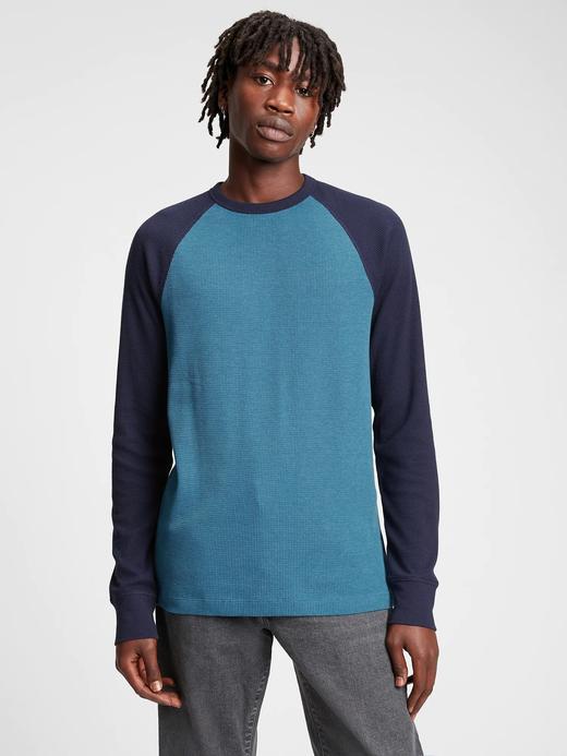Erkek mavi Raglan Waffle Örgü T-Shirt