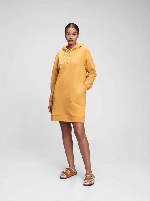 Kadın Sarı Kapüşonlu Sweatshirt Elbise