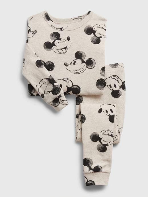 Kız Bebek Bej Disney Mickey Mouse 100% Organik Pamuk Pijama Seti