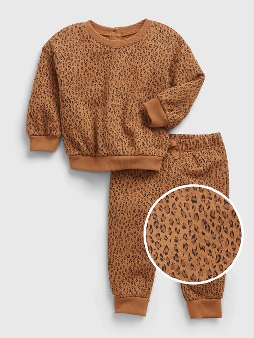 Kız Bebek kahverengi Leopar Desenli Tulum