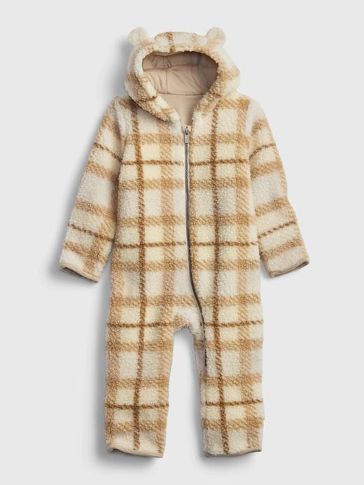 Erkek Bebek kahverengi Sherpa Tek Parça Tulum