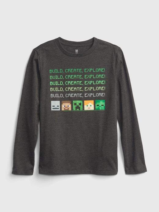 Erkek Çocuk gri Minecraft 100% Organik Pamuk Grafik Baskılı T-Shirt