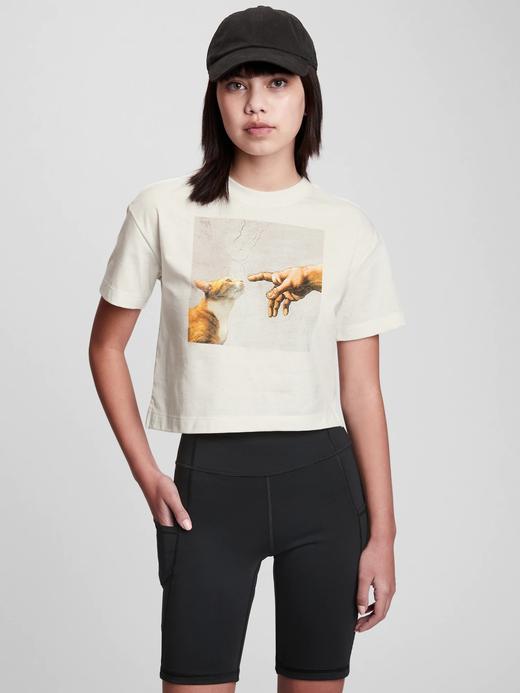 Beyaz Grafik Baskılı Crop T-Shirt