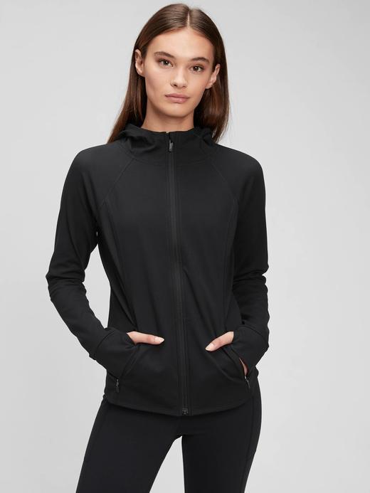 Kadın siyah GapFit Geri Döüştürülmüş Power Brushed Ceket
