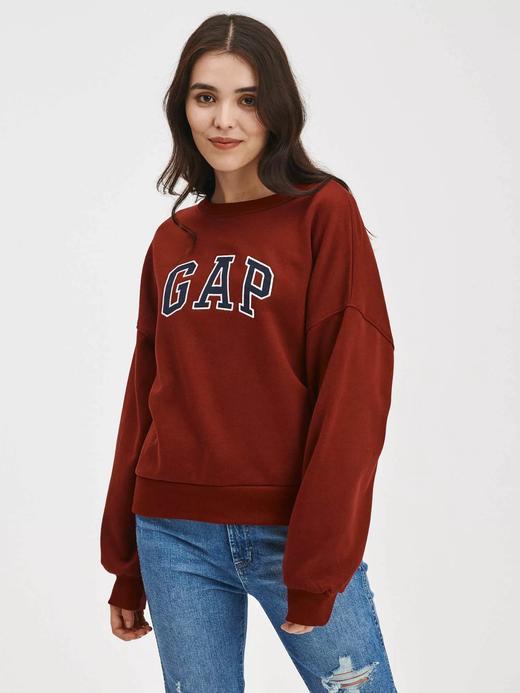 Kadın kirmizi Gap Logo Yuvarlak Yaka Sweatshirt