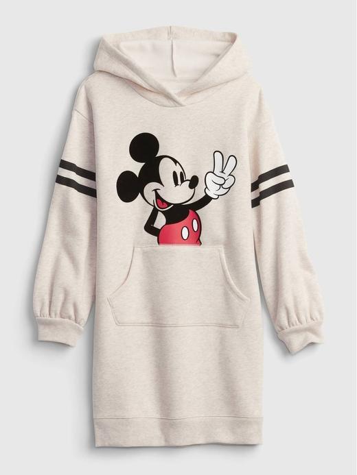 Kız Çocuk bej Disney Mickey Mouse Kapüşonlu Sweatshirt Elbise