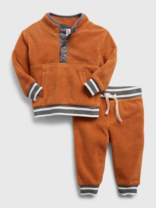 Erkek Bebek Turuncu Sherpa Tulum Seti