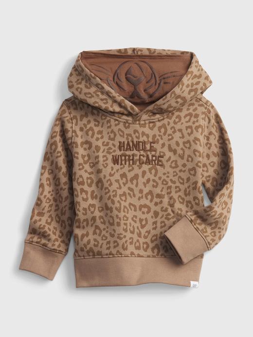 Erkek Bebek Kahverengi Grafik Baskılı Kapüşonlu Sweatshirt